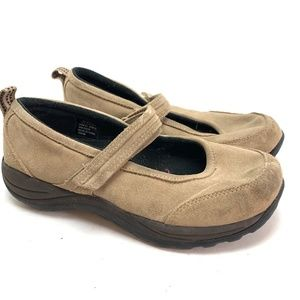 LL BEAN Beige Suede Leather Mary Jane Shoes sz 9.5